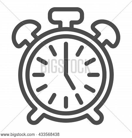Vintage Alarm Clock With Button, 5 Pm, 5 Am Line Icon, Time Concept, Timepiece Vector Sign On White
