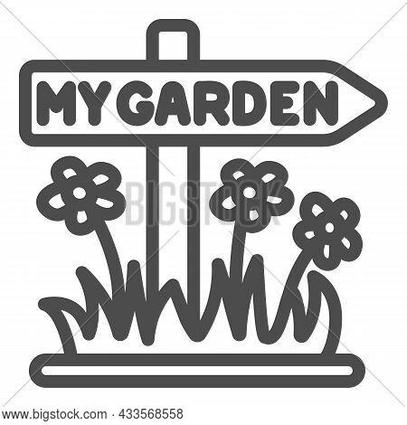 Garden Signboard, Arrow Sign With Flower Line Icon, Gardening Concept, Garden Pointer Vector Sign On