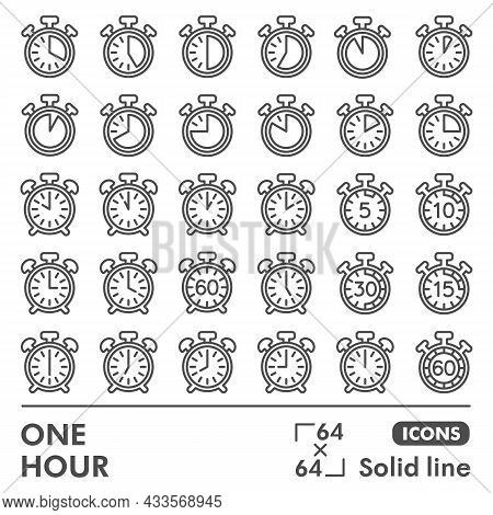 Stopwatch And Alarm Clock Line Icon Set, Timing Symbols Collection Or Sketches. Timer, Chronograph S