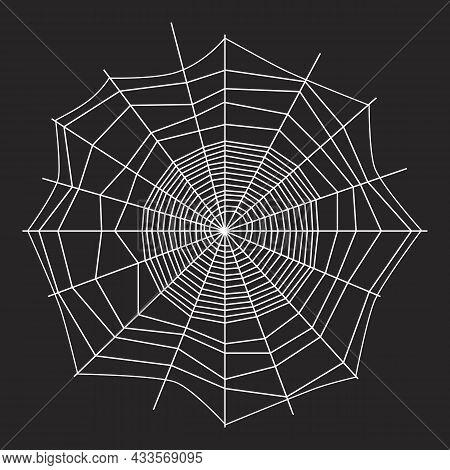 White Threads Of Spider Web On Dark Background. Black And White Design. Spiderweb Silhouette Graphic