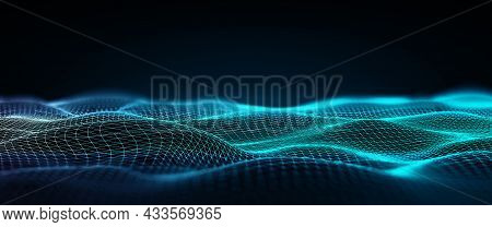 Abstract Wireframe Low Poly With Dark Background. Connection Structure, Science Futuristic Polygonal