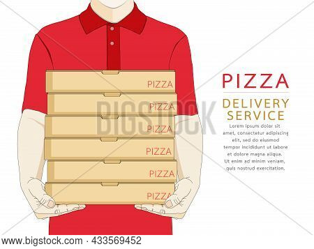 Pizza Delivery Boy Holding Box Fast Food In Red Uniform. Courier Service Deliver Ready Meal Eating A