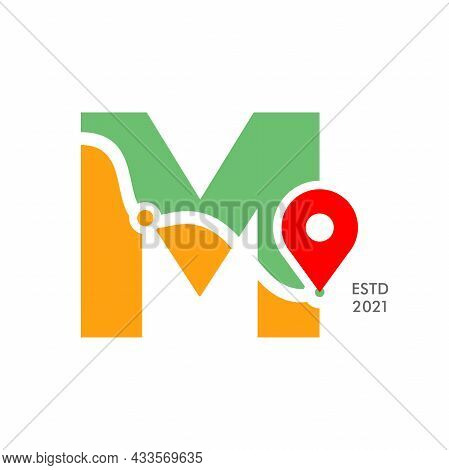Simple And Modern Illustration Logo Design Initial M Pin Location.
