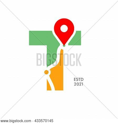 Simple And Modern Illustration Logo Design Initial T Pin Location.