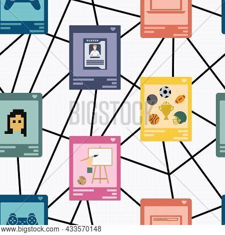 Illustration Of Blockchain Network Of Various Nft Categories Like Art, Domain Names, Trading Cards,