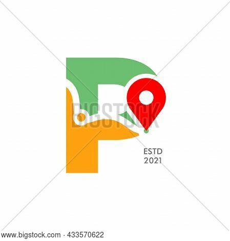 Simple And Modern Illustration Logo Design Initial P Pin Location.