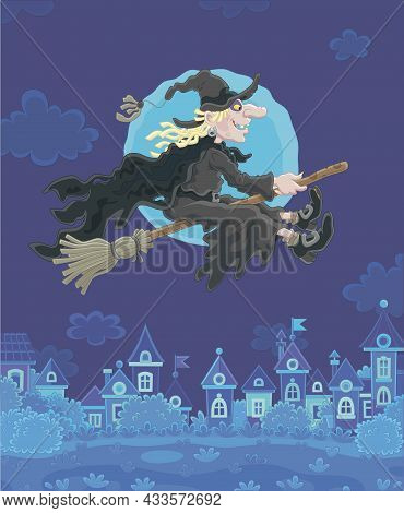 Ominous Halloween Witch Flying On Her Magic Broom Over A Small Town On A Moonlit Night, Vector Carto
