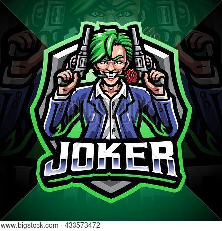 Joker Gunner Esport Mascot Logo Design With Text