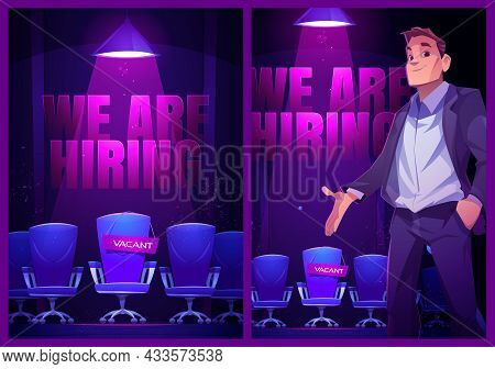 We Are Hiring Posters With Empty Chair And Hr Manager. Vector Banners Of Job Vacancy, Hire Staff Wit