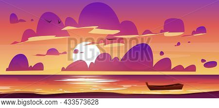 Sea Or Ocean Beach With Wooden Boat At Sunset. Vector Cartoon Illustration Of Evening Seascape With