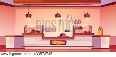 Meat Shop, Butchery Store Interior With Farm Production On Showcase, Cashier Desk And Scales. Fresh