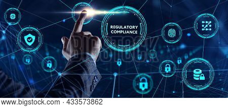 Cyber Security Data Protection Business Technology Privacy Concept. Young Businessman  Select The Ic