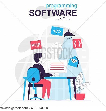 Programming Software Isolated Cartoon Concept. Developer Programs In Php Language At Computer People