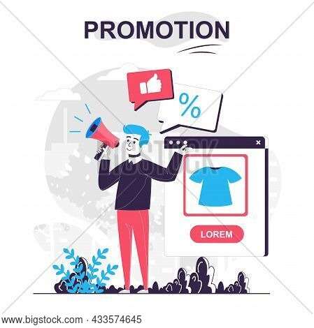 Promotion Isolated Cartoon Concept. Man With Megaphone Attracts New Buyers Announcing Sale, People S