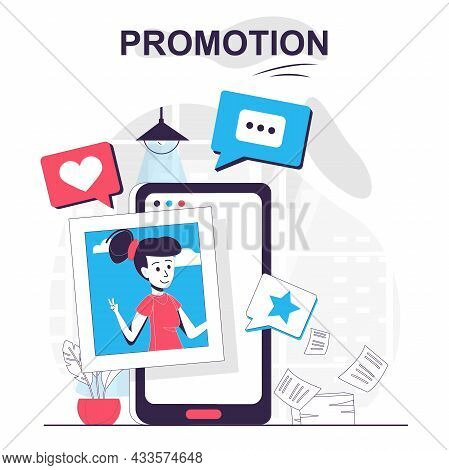 Promotion Isolated Cartoon Concept. Digital Marketing, Online Promotion In Social Networks, People S