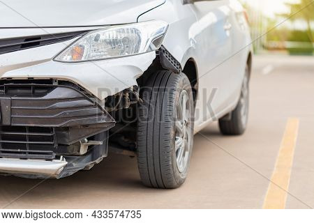 Front Of The Car Get Damaged By Accident On The Road, Car Crash Accident On Street, Damaged Automobi