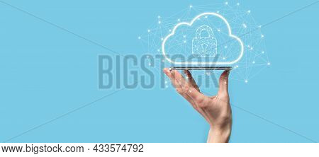 Business Man Hold,holding Cloud Computing Data And Security On Global Networking,padlock And Cloud I