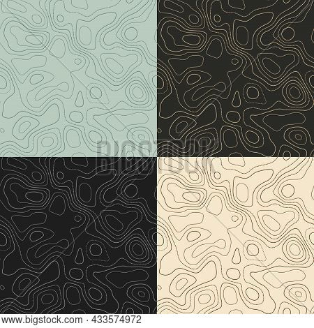 Topography Patterns. Seamless Elevation Map Tiles. Amazing Isoline Background. Creative Tileable Pat