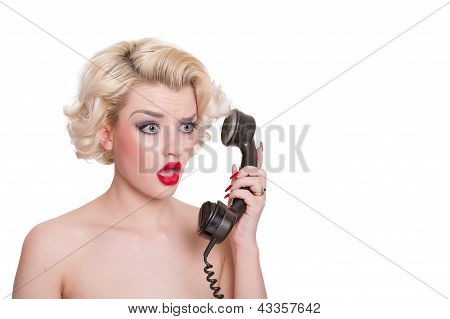 Shocked Blond Beauty On Vintage Telephone  - Isolated On White