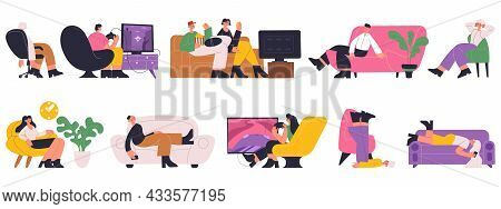 Characters Sleeping, Working, Resting, Watching Tv On Comfy Sofas. People Spending Time, Reading On