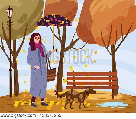 Young Fashion Woman With Dog And Umbrella In The Autumn Park City, Trendy Clothes Street Fashionable