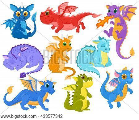 Cartoon Dragon Kids Fantasy Cute Creature Mascots. Funny Dragon Babies, Medieval Legends And Fairyta