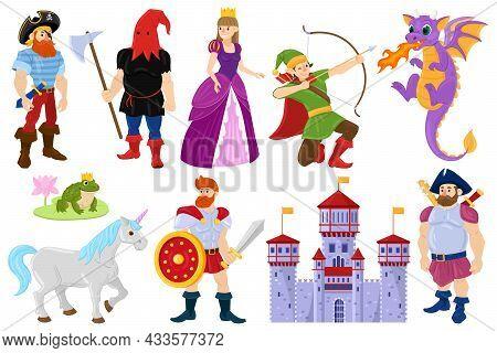 Cartoon Fairy Tale Dragon, Pirate, Princess Fantasy Characters. Fairy Tale Fantasy Unicorn, Medieval