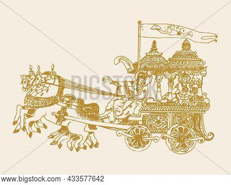 Sketch Of Lord Krishna Telling Bhagavad Gita To Arjuna In Kurukshetra War Field In Horse Chariot Edi