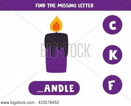 Find Missing Letter. Halloween Candle. Educational Spelling Game For Kids.