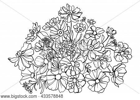 Floral Arrangement Of Blooming Flowers For Decorating A Greeting Cards. Line Art. - Vector Illustrat