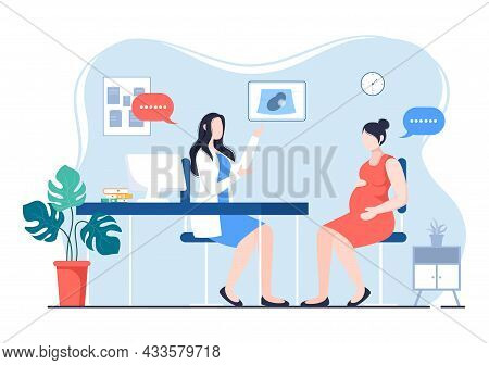 Pregnant Lady Or Mother In Medical Consultation By Pregnancy Doctor With Obstetric Procedures For Sc