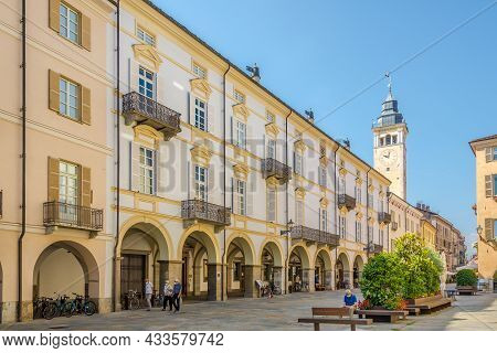 Cuneo, Italy - June 27,2021 - In The Streets Of Cuneo. Cuneo Is A City And Comune In Piedmont In Nor