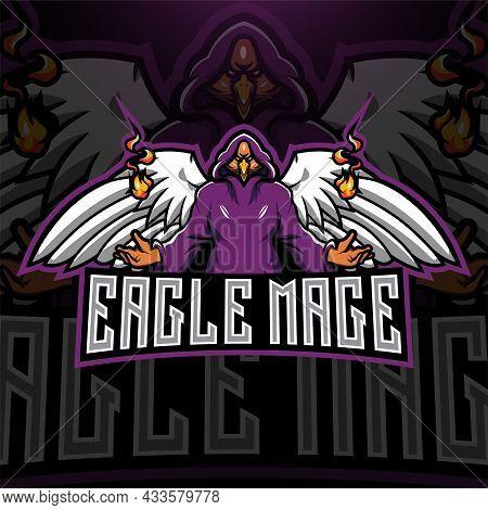 Eagles Mage Esport Mascot Logo With Text