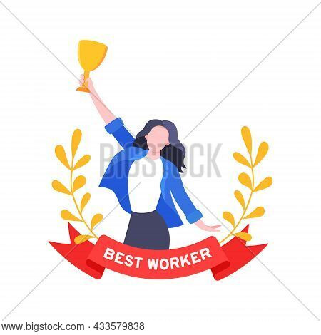 Best Worker Employee Winner With Trophy Cup Inside Award Ribbon And Floral Wreath Flat Style Design