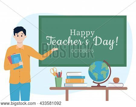World Teachers Day Banner Concept. Male Young Teacher With Books Explain Gesture To Chalkboard, Tabl