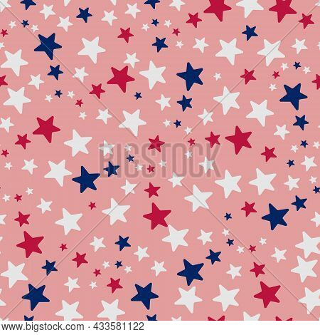 Stars. Repeating Vector Pattern. Isolated Red Background. Flat Style. Seamless Ornament In The Color