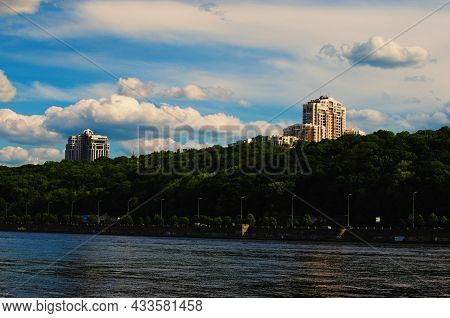 Kyiv, Ukraine-may 04, 2021:picturesque Landscape View Of Embankment Of Dnipro River. Green Hills Wit