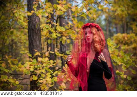 Magical Time, Autumn Bride With Red Veil . Costume And Ideas For Party, Lady`s Witchcraft