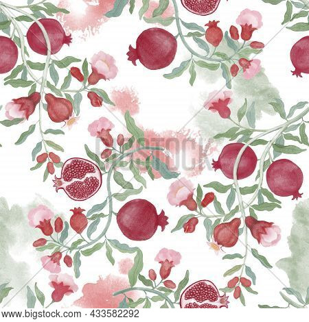 Pomegranate Fruit And Flower Blossom Seamless Repeated Pattern On White Color Background, Branches F