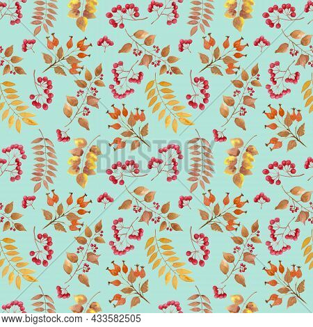 Yellow, Brown Autumn Leaves, Berry Fruit Seamless Repeated Pattern On  Green Pastel Color Background