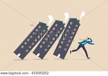 Real Estate Or Property Debt Crisis Causing Domino Effect, Housing And Stock Market Or Investment As