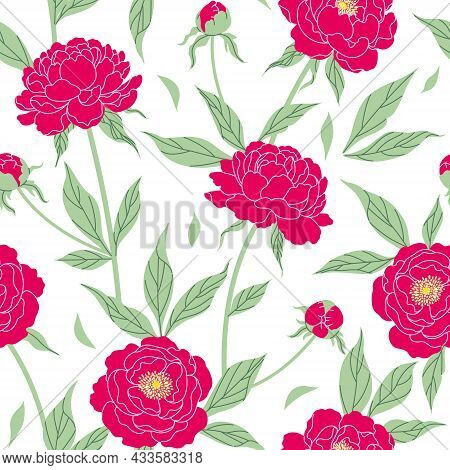 Seamless Pattern With Red Peonies On White Background. Colorful Modern Botanical Print. Endless Flor