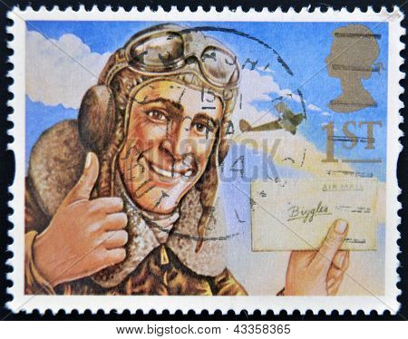 A stamp printed in Great Britain shows the comic hero Biggles