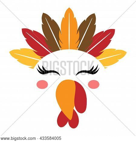 Beautiful Turkey Face With Feather Indian American Native Tiara - Vector Illustration For Card And S