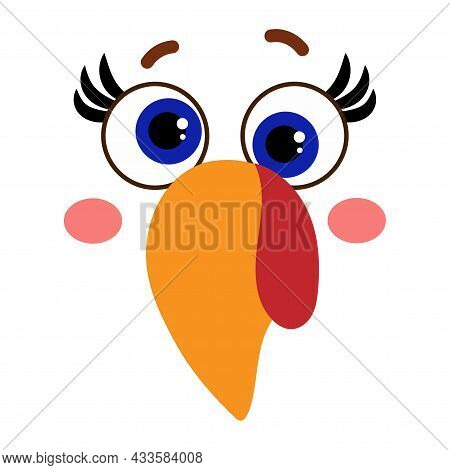 Beautiful Turkey Face With Crazy Eyes - Vector Illustration For Card And Shirt Design For Autumn Hol