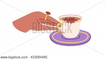 Elegant Hand Taking Hot Tea Cup From Saucer. Noble Female Fingers Holding Gold Handle Of Small Porce