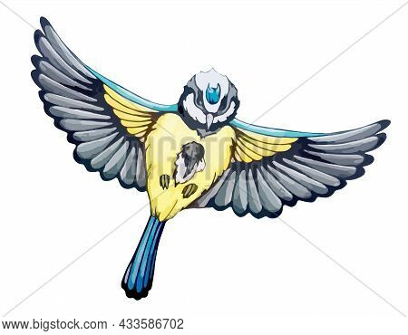 Blue Tit In Flight Across Sky In Watercolor Style. Folk Tit With Yellow Feathers. Spring Bird Fly Wi