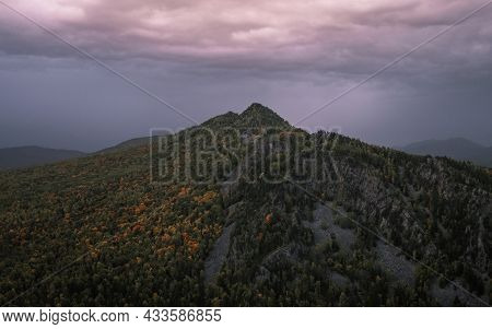 Photography Of The Mountain Peak And Violet Sky