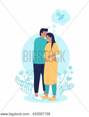 Pregnant Wife With Husband 2d Vector Isolated Illustration. Thinking Of Baby. Anticipating Child Bir
