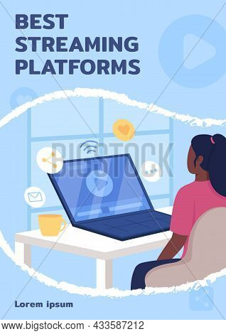 Best Streaming Platforms Poster Flat Vector Template. Educational Video. Brochure, Booklet One Page